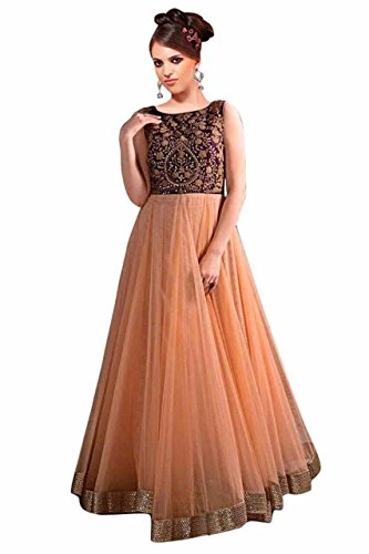 I-Brand Peach Color Soft Net Fabric Embroidery Salwar - suit (Semi-Stitched) ( New Arrival Latest Best Design Beautiful Dresses Material Collection For Women and Girl Party wear Festival wear Special Function Events Wear In Low Price With High Demand Todays Special Offer and Deals with Fancy Designer and Bollywood Collection 2017 Punjabi Anarkali Chudidar Patialas Plazo pattern Suits )  available at amazon for Rs.804
