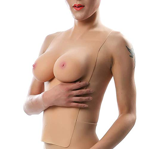 Zurück Hollow Silikon Fake Chest-Pseudo Woman Shemale Disguise Half-Length Solid Breasts Fake Chest Pad Rollenspiel Kostüm
