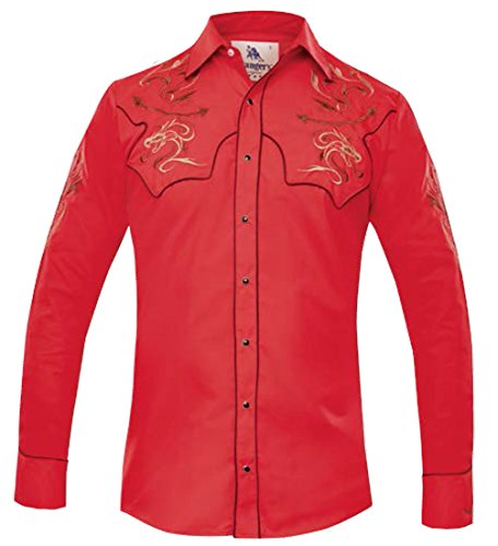 Modestone Men's Fitted Western Hemd Dragon Western Filigree Embroidered Red (Western Shirt Cattleman Ely)