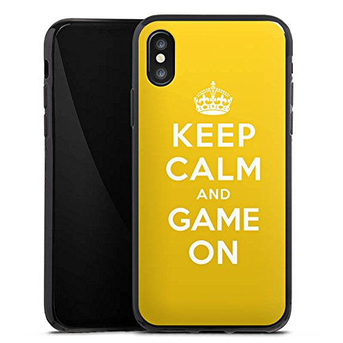 Apple iPhone X Silikon Hülle Case Schutzhülle Keep Calm Gaming Statements Silikon Case schwarz