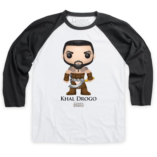 Official Game of Thrones - Funko POP Khal Drogo Camiseta de béisbol, Para hombre, Blanco/negro, XL