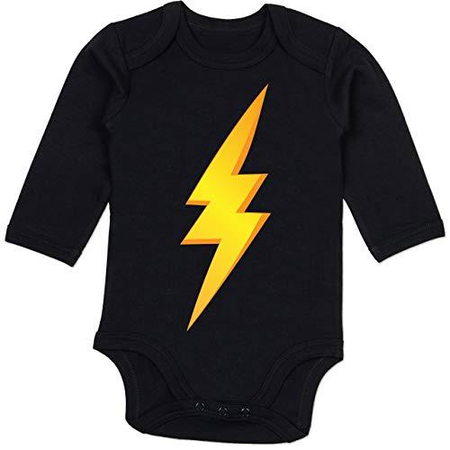 Blitz Schwarze Der Kostüm - Shirtracer Karneval und Fasching Baby - Blitz Kostüm - 6-12 Monate - Schwarz - BZ30 - Baby Body Langarm