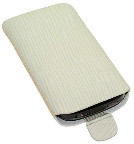 Suncase Original Tasche kompatibel mit Doro 7060 Leder Etui Handytasche Ledertasche Schutzhülle Case Hülle - Lasche mit Rückzugfunktion* In Baumrinde Design Beige