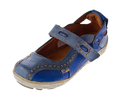 Damen Leder Ballerina Schuhe TMA EYES 1601 Sandalen viele Farben Zeitungsdruck Gr 36-42 Blau