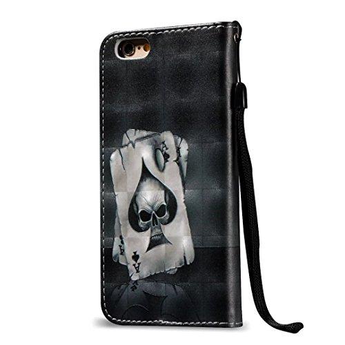 Vandot Housse en Cuir pour iPhone 6 Plus/6S Plus Cuir PU Cuir Flip Magnétique Portefeuille pour iPhone 6 Plus/6S Plus Etui Housse de Protection Relief magnétique Puissant Coque Étui Case Cover avec St FDQC-1