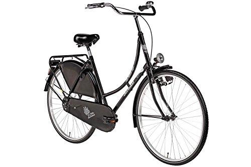 Hollandrad 28'' Bermuda Valencia in schwarz Stadtrad Damen Holland Fahrrad Citybike Beleuchtung Gepäckträger Rücktrittbremse