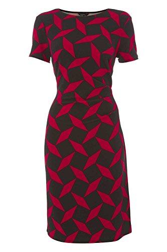 Roman Originals - Robe Femme Motif Géométrique Manches Courtes - Rouge Rouge