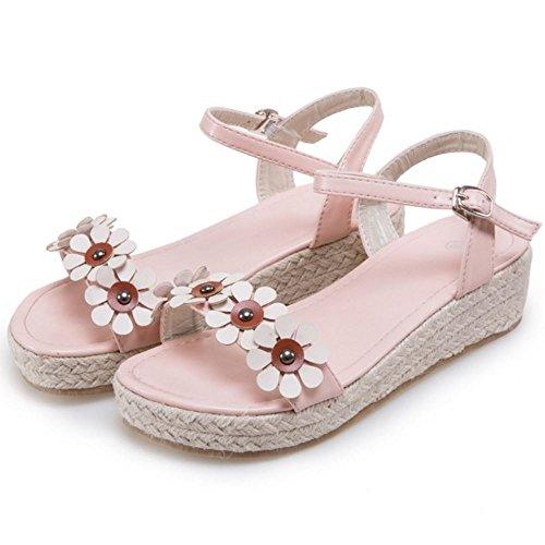 COOLCEPT Femmes Mode Cheville Sandales Orteil Ouvert Chaussures With Fleur Rose
