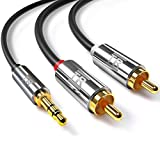 RCA Cable, TechRise 1.5 Metres Gold-Plated 3.5mm Jack to 2 RCA/Phono Stereo Y Splitter Audio Aux Cable - Male to Male