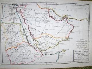 Grenzkolorierter Kupferstich-Karte von M. Rigobert BONNE * : CARTE DE L` ARABIE du Golfe Persique et de la Mer Rouge, avec l` Egypte, la Nubie et l` Abissinie.