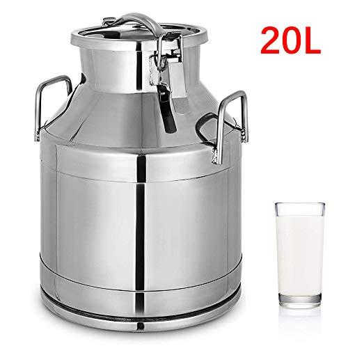 InLoveArts 304 Edelstahl Milchkanne 20 Liter Milcheimer Weineimer Eimer Tote Krug 5,25 Gallonen Milchkanne Henkelkanne mit Siegeldeckel Heavy Duty