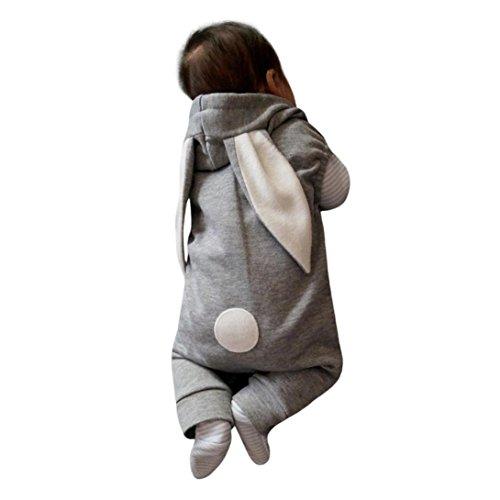 Hirolan Neugeboren Baby Junge Mädchen Mit Kapuze Spielanzug Säugling Kinder Hase Overall Outfit Kleider Zum 6 Monate nach 24 Monate (80cm, Grau)