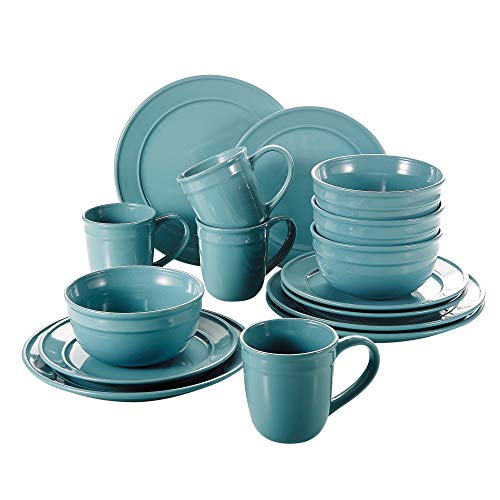 Vancasso Noah 16-teilig Porzellan Geschirr Set, mit 440 ml Kaffeetassen, 770 ml Müslischalen,...