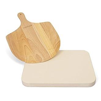 Pizzastein rechteckig und Pizzaschieber aus Holz