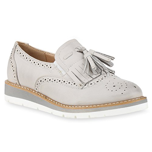 Damen Lack Slipper Loafers Metallic Quasten Schuhe Profilsohle Grau Fransen Quasten