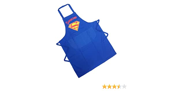NEW MENS NOVELTY SUPERMAN SUPERCHEF FRONT POCKET CHEFS BBQ COOKING APRON