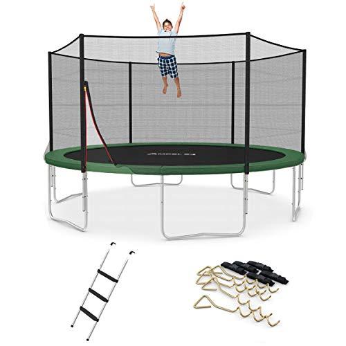 Ampel 24 Outdoor Trampolin Ø 430 cm grün mit verstärktem Netz | Gartentrampolin mit Leiter & Windsicherung | Sicherheitsnetz 6 Gepolsterte Stangen | Belastbarkeit 160 kg