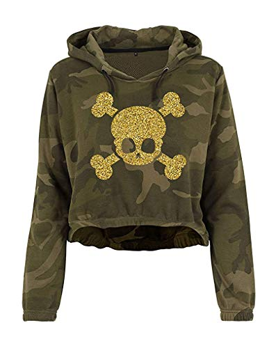 Livingstyle & Wanddesign Damen Camouflage Cropped Hoodie Glitzer Totenkopf Olive Camo Gold, Gr. L -
