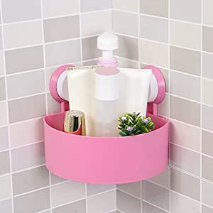 House of Quirk Plastic Bathroom Kitchen Storage Organize Shelf Rack Triangle Shower Corner Caddy Basket with Wall Mounted Suction Cup - Pink