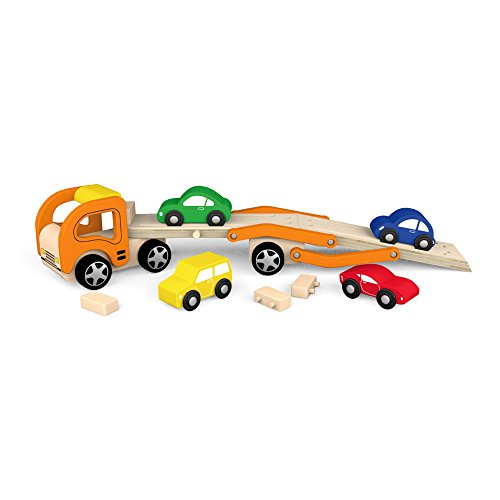 Viga Wooden Car Transporter - Childrens Push Along Toy Vehicle Carrier