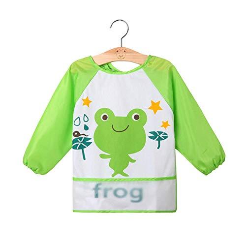 Kittel Kleinkind Kostüm - OGAWOO 2 STÜCKE Kind Baby Junge Mädchen Kleinkind Wasserdichte Langarm Lätzchen Cartoon Fütterung Kittel Schürze, grüner Frosch
