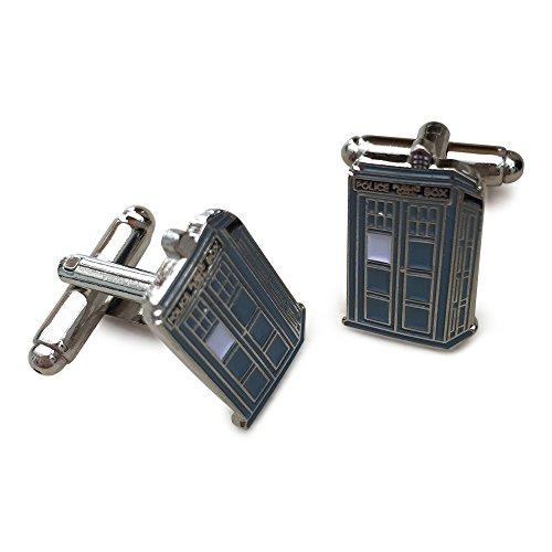 Dr Who TV inspirŽ Bleu et ton argent Boutons de manchette Tardis mŽtalliques. Coffret cadeau