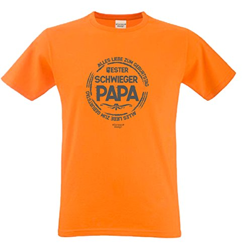Fun T-Shirt Bester Schwieger Papa der Welt als Geburtstags-Weihnachts-Vatertags-Geschenk für Ihren Schwiegervater auch Übergrößen 3XL 4XL 5XL in vielen Farben orange-11