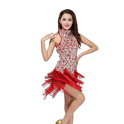 ChYoung Damen Tanzkleider Latin Pailletten Samba Rumba Tango Kleid Performance Apparel - Weiß Profi Bauchtanz Kostüm