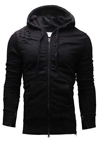 Crone Skull Herren Hoodie Kapuzenpullover Sweatshirt Pulli Totenkopf Pullover mit Kapuze aus 100% reiner Baumwolle 02 (XL, Black Hunter) (Schwarz Sweatshirt 2)
