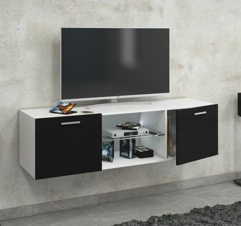VCM Jusa Poli Fin 140 Meuble TV Bois, Blanc/Noir, 40 x 140 x 36 cm
