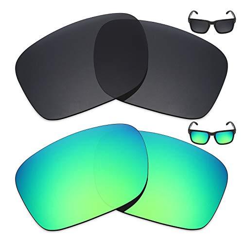 MRY 2Paar Polarisierte Ersatz Gläser für Oakley Holbrook Sonnenbrille-Reiche Option Farben, Stealth Black & Emerald Green