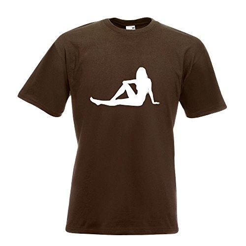KIWISTAR - sexy Girl sitzend T-Shirt in 15 verschiedenen Farben - Herren Funshirt bedruckt Design Sprüche Spruch Motive Oberteil Baumwolle Print Größe S M L XL XXL Chocolate