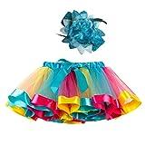 Carnival Tutu Rock +Stirnband Set - Kinder Tüllrock 50er Mädchen Jahre Short Ballett Tanz Regenbogen Kleid Cosplay Krinoline Petticoat für Rockabilly Kleid Hohe Taille Minirock