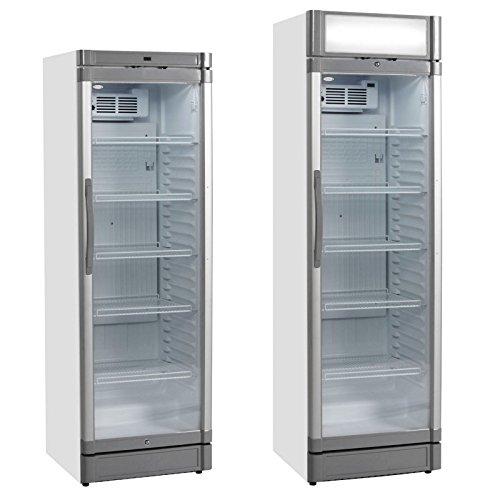 Tefcold GBC Angebot Aufrecht Glastür Kühler Gekühlt Display mit weiß 1840(H)x595(W)x600(D) 372 Liter 5 Regale -2 Jahr Teile Garantie Inklusive - Baldachin Garantie Jahre 2