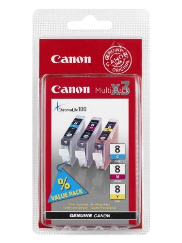 Canon CLI-8 3 original Tintenpatrone Multipack C/M/Y für Pixma Inkjet Drucker MX700-MX850-MP500-MP510-MP520-MP520x-MP530-MP600-MP600R-MP610-MP800-MP800R-MP810-MP830-iP3300-iP3500-iP4200-iP4200x-iP4300-iP4500-iP4500x-iP5200-iP5200R-iP5300-iP6600D-iP6700D-iX4000-iX5000-PRO9000-PRO9000MarkII - Canon Cli-8 Patronen