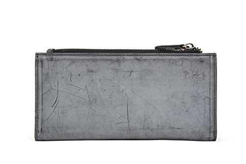 Genda 2Archer Portafoglio Lungo del Cuoio Genuino Dell'annata di Modo Borsa del Cellulare per Uomini e Donne (9.5cm*1cm*19.8cm) (Bianco) Nero