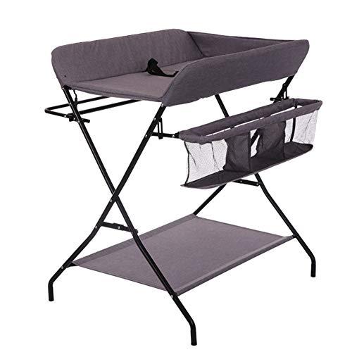Tables à langer Table à langer avec rangement, pliage Toddler Infant Portable Station de couche-culotte commode style jambe croisée, gris