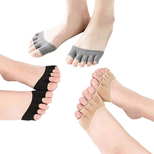Durable y asequible Mujeres abiertas cinco calcetines del dedo del pie calcetines del antepié medias calcetines del dedo del pie antideslizantes Yoga Pilates Ballet Danza Protección del dedo del pie 3