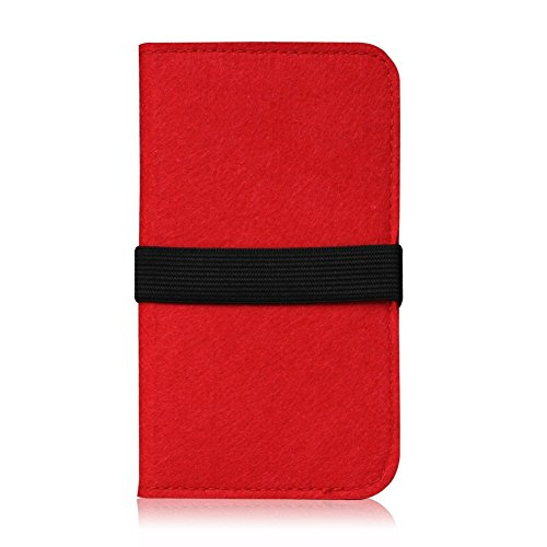 Feutre pour Smartphone Cover Étui Étui de protection à rabat en feutre avec compartiment de Carte En Différentes Couleurs avec bande de caoutchouc straffen compatible avec Apple iPhone 6S Plus/iPhone  rouge
