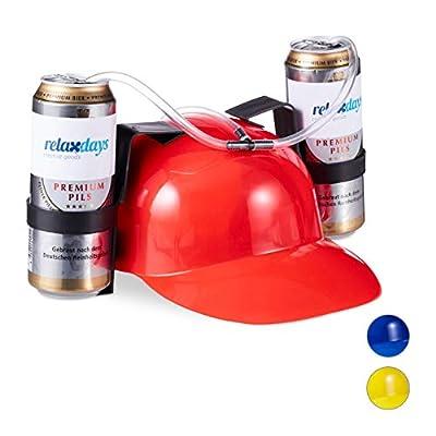 Relaxdays Casque à Boisson de Fête, Casque à Tube, 2 Canettes de Bière, Article Drôle Carnaval Football, diff. couleurs