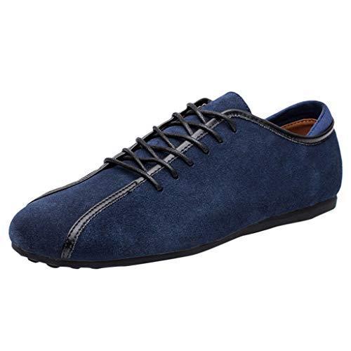 CUTUDE Herren Erbsen Schuhe atmungsaktiv weichen Boden Schuhe Bootsschuhe Leder Freizeitschuhe Business Freizeitschuhe Sportschuhe faul Freizeitschuhe (Dunkelblau, 44 EU)