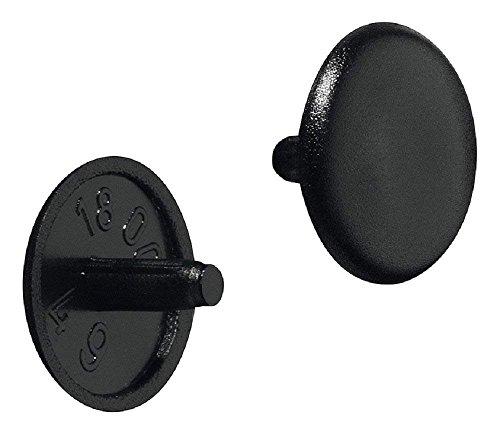 Gedotec Möbel-Abdeckkappen Kunststoff Schrauben-Abdeckungen schwarz Schrauben-Kappe rund | H1115 | Ø 12 x 2,5 mm | für Kopflochbohrung PZ2 | 20 Stück