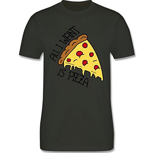 Statement Shirts - All I want is pizza - Herren Premium T-Shirt Army Grün