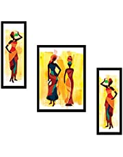 Saf Uv Textured Modern Art Print Framed Painting Set Of 3 For Home Decoration - Size 35 X 2 X 50 Cm