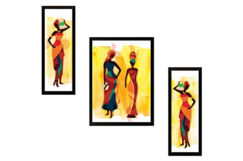 SAF UV Textured Modern Art Print Framed Painting (Synthetic, 13.5 inch x 22 inch, Set of 3)