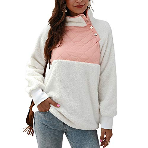 NMQLX Sweat Capuche Femme Pullover Femme Manches Longues Chaud Veste d¡¯Hiver Maillot Rose Taille-42