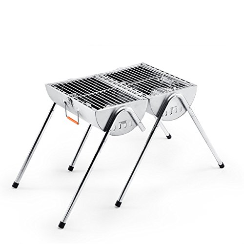 YUTOO Outdoor Foldable Portable Thickening Stainless Steel Charcoal Barbecue Grill Double Stove (Portable Steel Grill Stainless)