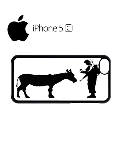 Banksy Soldier Donkey Asking ID Mobile Cell Phone Case Cover iPhone 5c Black Weiß