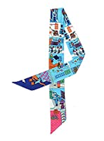 Bigood Colorful Print Silk Ribbon Twilly Headband Bag Handbag Riband Scarf Blue