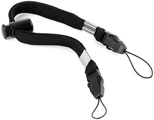Poppstar 1x Nylon Handschlaufe Handgelenk-Schlaufe Trageband mit Zwei Schlaufen (Doppelbefestigung) für USB-Stick Smartphone Kamera Schlüssel Action-Cam 32cm, schwarz